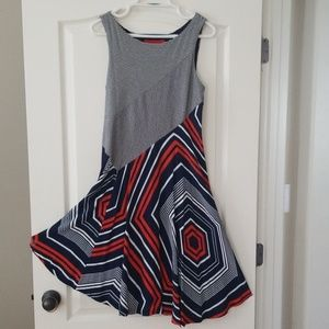 Anthropologie Maeve Asym/Geo Striped Dress